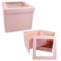 Virágbox és bonbon doboz tetővel, rózsaszín, 18,5x15,5 cm