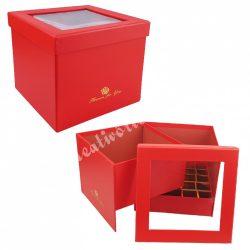 Virágbox és bonbon doboz tetővel, piros, 18,5x15,5 cm