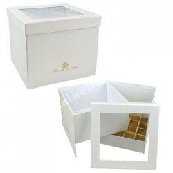 Virágbox és bonbon doboz tetővel, fehér, 18,5x15,5 cm