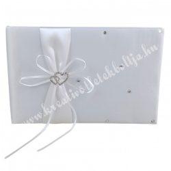 Vendégkönyv, fehér színű, strasszos szívvel, 26x18 cm