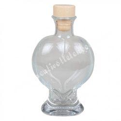 Szív alakú üvegpalack kupakkal, 2 dl