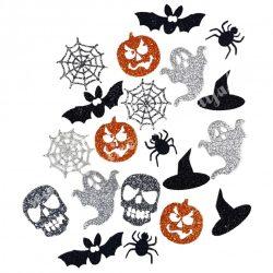 Csillámos dekorgumi Halloween figurák, 20 db/csomag