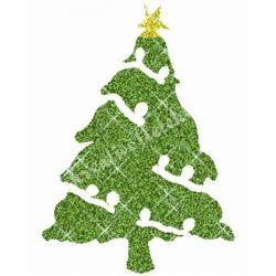 Csillámtetoválás festősablon, karácsonyfa
