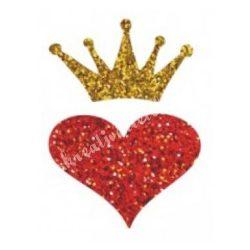 Csillámtetoválás festősablon, szív koronával
