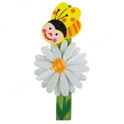 Csipeszes méhecske, virággal, 3,5x7,5 cm