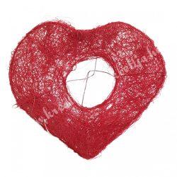 Csokortartó, szív alakú, piros, 16x15 cm