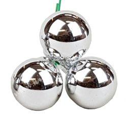 Betűzős üveggömb,  ezüst, fényes, 3 db/csokor