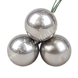 Betűzős üveggömb, titán szürke világos, fényes, 3 db/csokor, 2 cm
