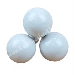 Betűzős üveggömb, fényes fehér, 3 db/csokor, 2 cm