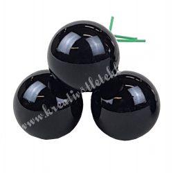 Betűzős üveggömb, fekete, fényes, 2 cm, 3 db/csokor