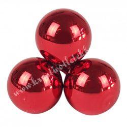 Betűzős üveggömb, piros, fényes, 2 cm, 3 db/csokor