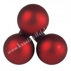 Betűzős üveggömb, piros, matt, 2 cm, 3 db/csokor