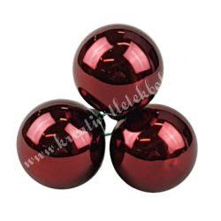 Betűzős üveggömb,  sötét málnapiros, fényes, 2 cm, 3 db/csokor