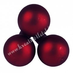 Betűzős üveggömb, bordó, matt, 2 cm, 3 db/csokor