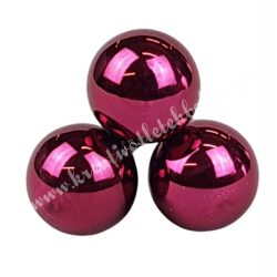 Betűzős üveggömb, sötét pink fényes, 3 db/csokor, 2,5 cm