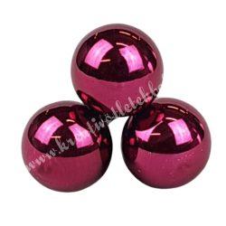 Betűzős üveggömb, sötétpink fényes, 3 db/csokor, 2 cm