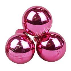 Betűzős üveggömb, világos pink fényes, 3 db/csokor, 2,5 cm