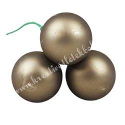 Betűzős üveggömb, szürkés barna, matt, 3 db/csokor