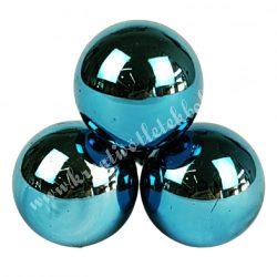 Betűzős üveggömb, petrolkék, fényes, 3 db/csokor, 2 cm