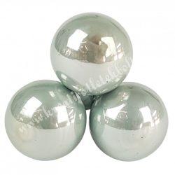 Betűzős üveggömb, vízkék, fényes, 2 cm, 3 db/csokor