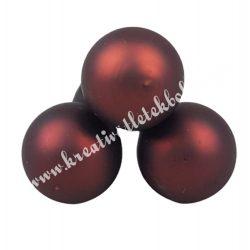 Betűzős üveggömb, barna matt, 3 db/csokor, 2 cm