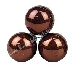 Betűzős üveggömb, natúr opál sötétbarna, fényes, 3 db/csokor