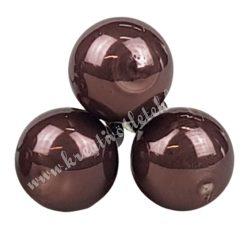 Betűzős üveggömb, mogyoróbarna, fényes, 3 db/csokor, 2 cm
