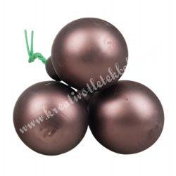 Betűzős üveggömb, mogyoróbarna, matt, 3 db/csokor, 2 cm