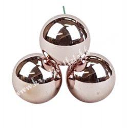 Betűzős üveggömb,  smokey rose fényes, 3 db/csokor, 2 cm