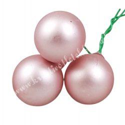 Betűzős üveggömb, hibiszkusz rózsaszín, matt, 3 db/csokor
