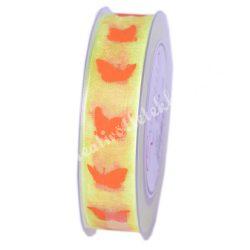 Organza szalag, pillangós, sárga, 25 mm