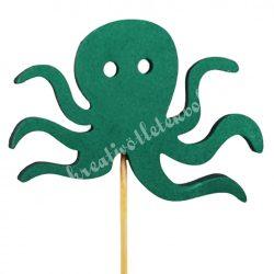 Betűzős dekorgumi polip, zöld, kb. 54 cm