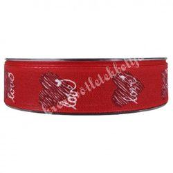 Szíves szalag, Love felirattal, piros, 2,5 cm