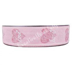 Szíves szalag, Love felirattal, rózsaszín, 2,5 cm