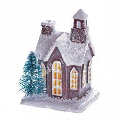 Házikó fenyővel, szürke, 5x6 cm