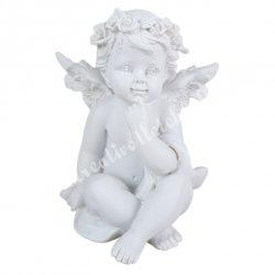 Polyresin angyal, gondolkodó, 6,5x8 cm