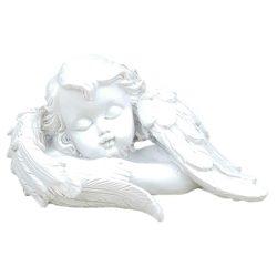 Fehér angyalka, jobb karján fekvő, 8x4,5 cm