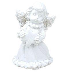 Fehér angyalka, csillaggal, 3,5x5 cm