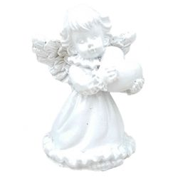 Fehér angyalka, szívvel, 3,5x5 cm