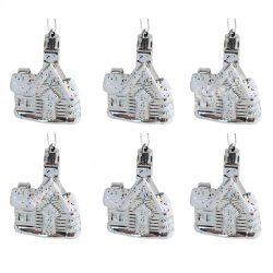 Akasztós dísz, havas házikó, ezüst, 5,5x7,5 cm, 6db/csomag