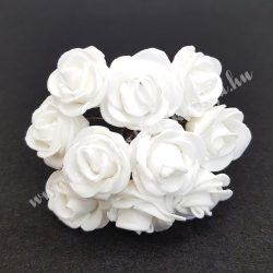 Polifoam rózsa, fehér, 10 darab/csokor