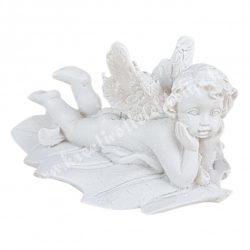 Polyresin angyal, két kezén könyöklő, 6x3,8 cm