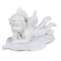 Polyresin angyal, jobb kezén könyöklő, 6x3,3 cm