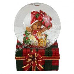 Hógömb ajándékdobozon, ajándékokkal 4x6 cm