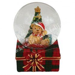 Hógömb ajándékdobozon, karácsonyfával, 4x6 cm