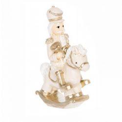 Diótörő lovon, krém, kürttel, 6,5x3x9,5 cm