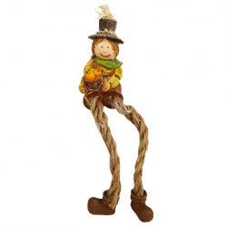 Lógó lábú madárijesztő, barna nadrágban, 4x17 cm
