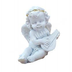 Polyresin ülő angyal, lanttal, 4x4,5 cm