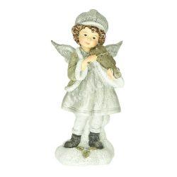 Polyresin angyal, álló, hegedűvel, 7,5x6,6x15,5 cm