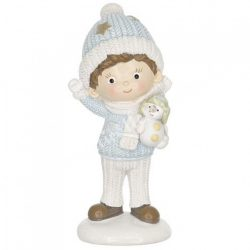 Polyresin kisfiú hóemberrel, 4x7 cm